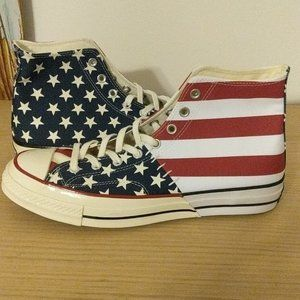 Red white and blue american converse chuck hi high